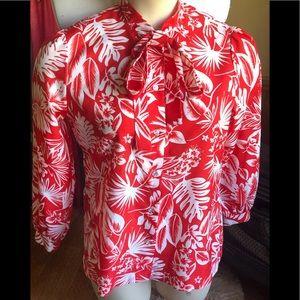 Vintage Tropical Palm Hawaiian Print PussyBow Top